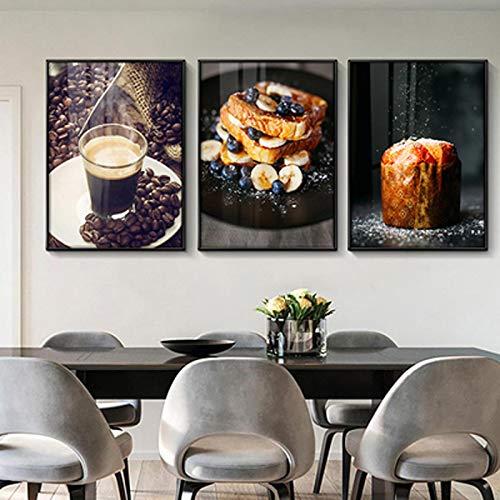KELEQI Pintura en Lienzo Moderno Minimalista Comida Pastelería Restaurante Cocina Mesa Cafetería...