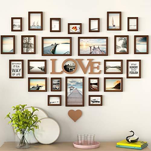 HYLR 24er Pack Bilderrahmen Collage Bilderrahmen Wandgalerie Set für Wand und Zuhause, Rahmen - Massivholz - Glasfenster