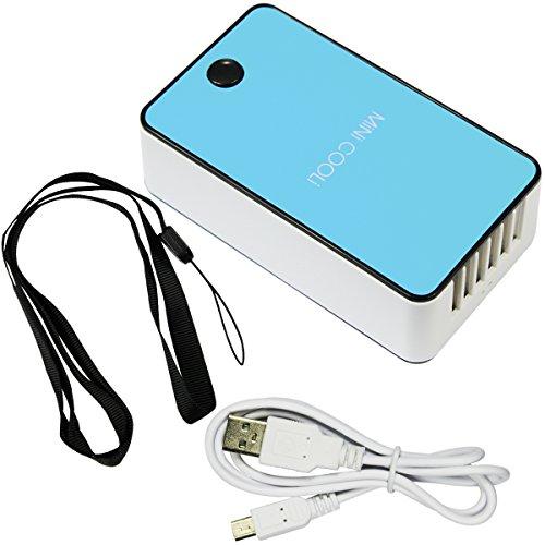 ESUMIC Mini Hand Handliche USB-Luefter Klimaanlage/Mini-Klimaanlage/Tragbare Luefter mit ABS-Kunststoff, Kuehlung Klimaanlage und Ventilator Gewoehnlichen Zwei Modi (Blue)