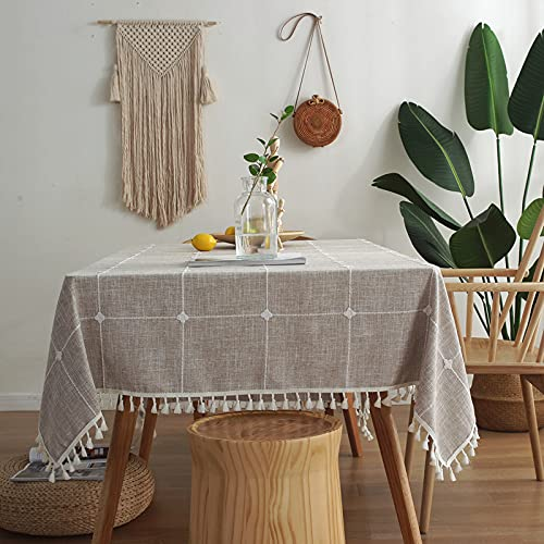 Tables Tablecloth for Kitchen Dining Table Top Decoration Full version plaid imitation cotton and linen embroidery tassels
