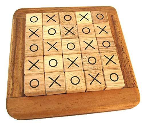 LOGOPLAY Tic-Tac-Toe - Tic Tac Toe - Legespiel - Strategiespiel im Holzrahmen