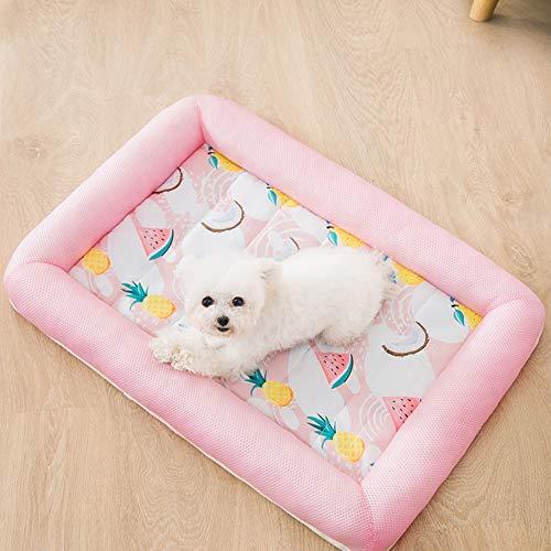 YTATY Cama para Mascotas Summer Mesh Perrera, de Hielo de Verano Almohadilla Cama para Dormir para Cachorros, Gatos Y Perros (L,Rosa Suave)