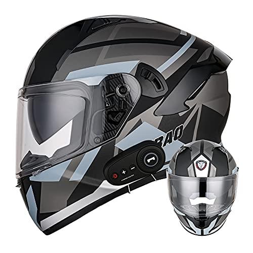 Wan&ya Cascos de Bluetooth de la Motocicleta de la Cara Completa Flip Up Bluetooth Intercom Motorbike Casco Dual Sun Viseras Adultos Casco Modular Casco Modular para Hombres Dot/ECE Estándar,L(58~60)