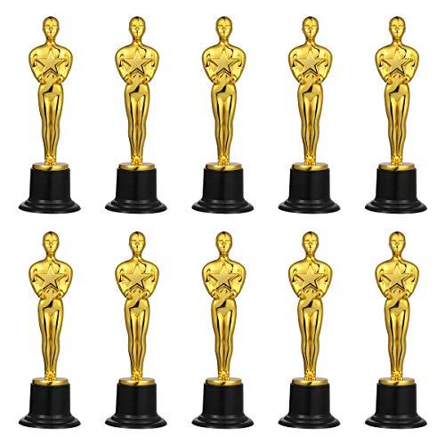 NUOBESTY Gold Trophäen Kunststoff Oscar Figur Goldener Mann Statuen Stern Kinder Party Kleinspielzeug Geschenk