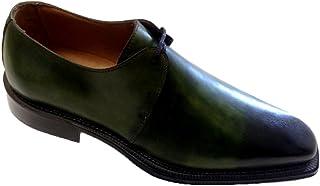 Scarpe Uomo Classiche, strinate in Vitello patinato Verde n.42