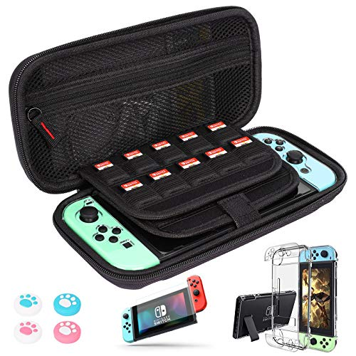 Nintendo Switch Carry Case + 2PCS Tempered Glass Screen Protector, GIM Portable Protective Hard Shell Cover Travel Storage Bag with 20 Game Cartridge Dockable Protective Cover and 4 Thumb Stick Caps