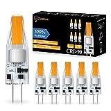 Bombillas LED G4, JandCase 2W G4 sin parpadeo, equivalente a 20W G4 halógena, luz blanca cálida 3000K, 200 LM, CA/CC 12V, no regulable, bombillas de ahorro de energía G4 para candelabro, 6 unidades
