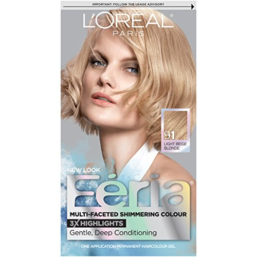 L'Oreal Paris Feria Multi-Faceted Shimmering Permanent Hair Color, 91Champagne Cocktail (Light Beige Blonde), Pack of 1, Hair Dye