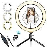 SYOSIN Luz de Anillo LED, 10.2' con Trípode Stand Control Remoto Bluetooth Soporte para Teléfono, 3 Modos de Luz y 11 Niveles de Brillo para Maquillaje, Youtube Video, Belleza y Fotografía de Moda