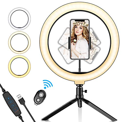 SYOSIN Ringleuchte, Selfie Ringlicht mit Fernbedienung mit Handyhalter 3 Leuchtmodi & 11 Helligkeitsstufen für Live Streaming, Videosschooting, Selfie Portrait, Beautylight