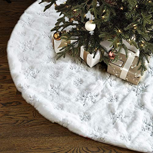 Lalent White Christmas Tree Skirt 36inch Luxury Plush Embroidered Snowflake Faux Fur Xmas Tree Skirts Base Cover for Christmas Decorations (White/Sliver)