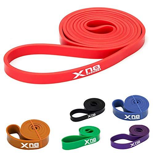 Xn8 Bande Elastiche - Fasce Elastici Fitness con 6 Livelli di Resistenza per Stretching-Fitness-Yoga-Riabilitazione-Pilates-Affondi-Flessibilità Forza