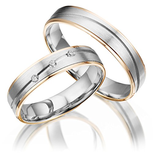 2 x 375 Trauringe Bicolor - Rotgold Weißgold Eheringe Massiv Gold LM.17 Weißgold Trauringe Paarpreis vom Juwelier Echtes Gold Verlobunsringe Wedding Rings Trouwringen