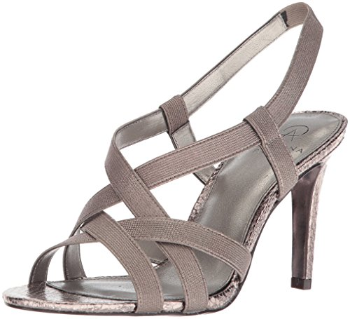 Adrianna Papell Women's Addie Heeled Sandal, Gunmetal Metallic Elastic, 9.5 M US