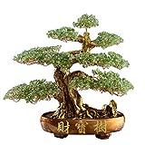 Feng Shui Money Treei Money Tree Bonsai Fengshui Gemma Decorazione for ricchezza e fortuna Feng Shui Luck Figurine (verde) Ricchezza e Prosperità-Home Office Decor dono spirituale per l'ufficio a casa