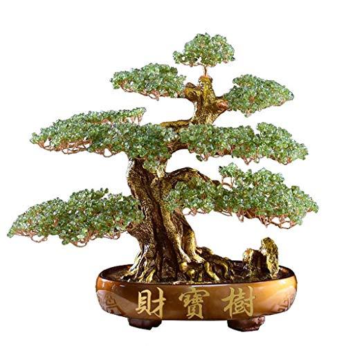 Árbol del dinero bonsai feng shui Dinero árbol Bonsai Fengshui decoración de la gema for la riqueza y la suerte Feng Shui suerte Figurita (verde) y la riqueza espiritual regalo Prosperidad-Home Office