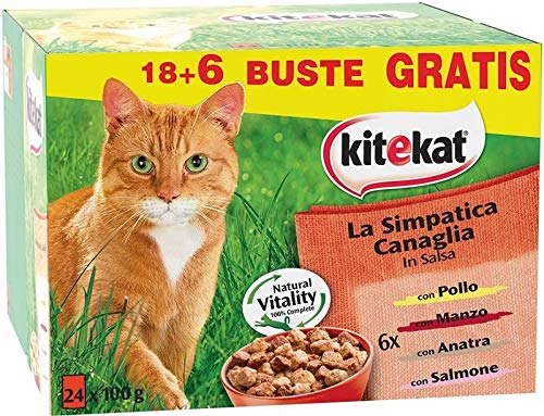 Kitekat Buste per Gatto con Pollo, Anatra, Vitello, Salmone - 24 x 100 g