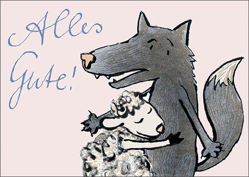 Lustige Geburtstagskarte mit Wolf und Schaf: Alles Gute! • auch zum direkt Versenden mit ihrem persönlichen Text als Einleger. • edle Gratulationskarte zum Geburtstag mit Umschlag geschäftlich & privat