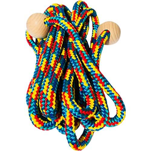 GICO Schwingseil mit Holzkugeln für Kinder, buntes Seil, 500 cm Holzgriff Springseil Schwungseil Hüpfseil Seilspringen -Qualität Made in Germany 3008