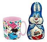 Uovo di Pasqua Coniglietto Kinder Surprise Cioccolato al Latte 75g + Tazza di plastica Disney Topolino Minnie Mouse 350ml Ufficiale