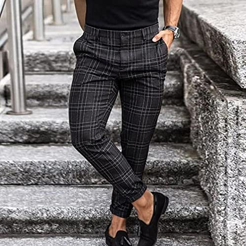 CCLYQ Pantalones de lápiz Impresos de Moda a Cuadros para Hombre Vintage Mid Cintura de Cintura Pantalón Masculino Verano Casual Pantalón Largo Streetwear Negro 40