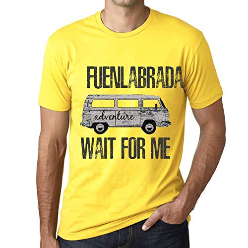 One in the City Hombre Camiseta Vintage T-Shirt Gráfico FUENLABRADA Wait For Me Amarillo