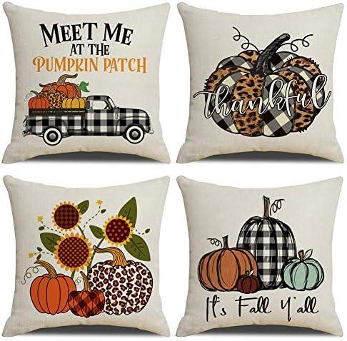 KACOPOL Fall Buffalo Plaids Covers Pumpkin Max 47% OFF Sale SALE% OFF Patch Pillow