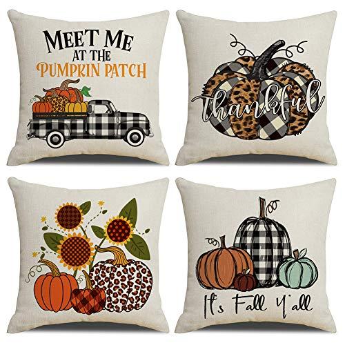 KACOPOL Fall Buffalo Plaids Pumpkin Pillow Covers Pumpkin Patch Truck Autumn Farmhouse Decor Cotton Linen Throw Pillow Case Cushion Cover 18' x 18' Set of 4 Fall Decorations (Colorful Pumpkin)