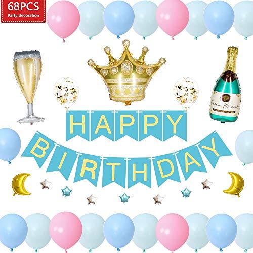 JUSTIDEA 68 Piezas Globos Azules Decoraciones para Fiestas de cumpleaños para Adultos Niños Niñas y niños incluidos Botella de Vino Globo Copa de Vino Globo Corona Corona Papel