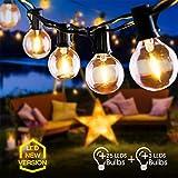 Lichterkette Außen FOCHEA Lichterkette Glühbirnen G40 9.5m 25er Globe LED Birnen Lichterkette Garten IP44 Wasserdichte für Weihnachten...