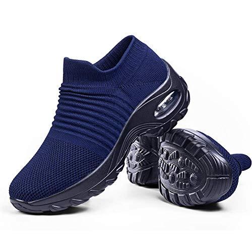 Slip on Breathe Mesh Walking Shoes Women Fashion Sneakers Comfort Wedge Platform Loafers Navy Blue,6.5