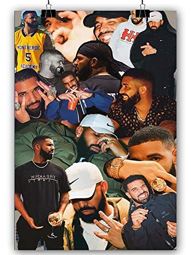 Canvas Wall Art Rap Hip Hop Singer Drake Poster and Picture Print Painting Canvas Bedroom Decor Posters Living Room Decor (Drake,16x24inch Unframed)