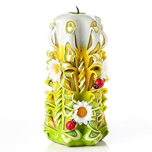 Vela grande sin aroma tallada a mano – Perfecta para decoración casera o como vela de regalo para varias ocasiones - Impresionante color verde crema con decoraciones