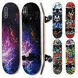 wellife - skateboard rgx tavola skate (31x8) 79x20cm in 9 strati di acero design concavo ruota pu 54 * 36 mm super smooth per bambino giovani adulti cuscinetto abec-7rs (dbl 464)