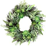 22 Inch Succulent Wreath Arrangement for Front Door Home Office Real Twig Based Back