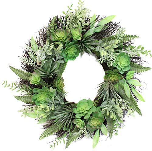 22 Inch Succulent Wreath Arrangement for Front Door Home Office Real Twig Based Back