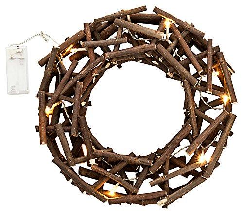 Koromonto Weihnachtskranz Holzkranz beleuchtet mit 10 LED´s Ø 30cm Adventskranz Türkranz,Ostern
