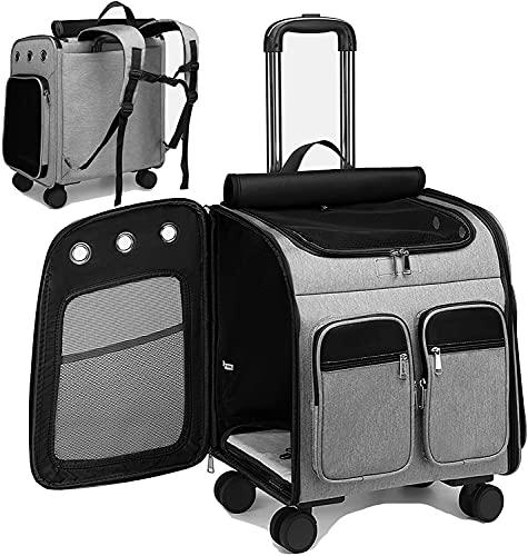 Camu Zaino con ruote per trasportino, per animali domestici passeggino, per animali domestici trasportino da viaggio per cuccioli seggiolino auto per cani e gatti Zaino comfort (grigio)
