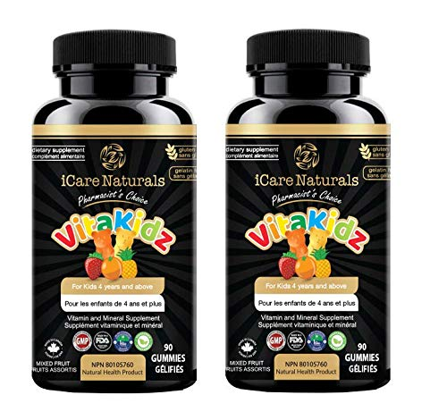 iCare Naturals - VitaKidz - Multivitamin Gummies for Kids - Halal Gummies, Vegetarian Friendly, Gluten-Free - No Artificial Flavor/Colors or Sweeteners - 2 x 90 = 180 count