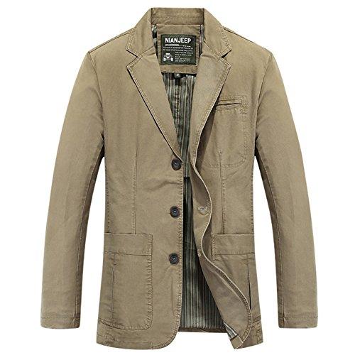 LEOCLOTHO Herren Blazer Freizeit Sakko Casual Anzugjacke Frühling Herbst Regular Fit Jacke Khaki XXL