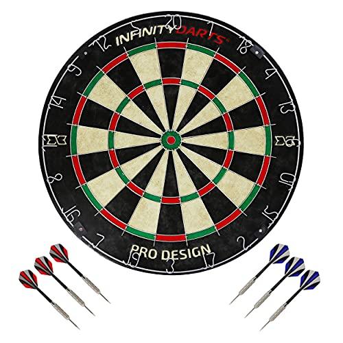 Infinity Darts Bristle Dartboard Set - Includes 6 Metal Tip Darts Set, Self-Healing Sisal Fiber Dart Board, Rotating Steel Wire Scoring Ring, Staple Free Bullseye, for Home Game Room or Bar Darts