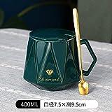 Heliansheng Semplice tazza da caffè a forma di diamante coppia tazza da colazione tazza in ceramica linea geometrica -C14-coperchio confezione regalo cucchiaio