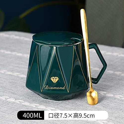 Heliansheng Taza de café Simple en Forma de Diamante Taza de Desayuno de Pareja Taza de cerámica línea geométrica -C19-Caja de un Solo Color