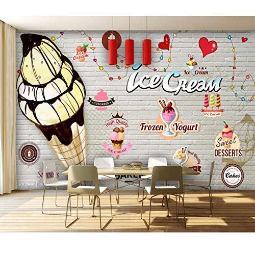 Ice Cream Shop Muurschildering 3D Behang, Muurschildering Muurpapier voor Restaurant Contactpapier 280 cm (B) x 180 cm (H)