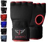 Jayefo Sports Kickboxing Speed Wraps Fast Hand Wraps for Boxing Gloves Inner Insert Fingerless Padded Knuckle Training Krav MAGA Muay Thai MMA Wrist Wraps Rap Men & Women-Pair (Black/RED, L/X-L)