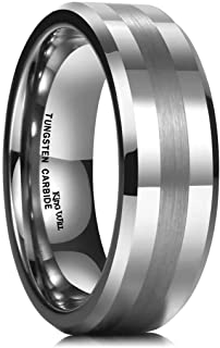 King Will Tungsten Carbide Ring 8mm Silver/Gold Wedding Band Matte Brushed Polish Finish