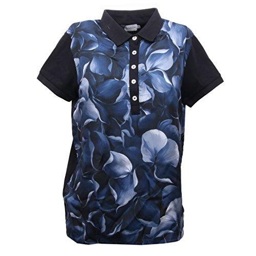 Moncler B5576 Polo Donna Maglia Seta Blu Manica Corta Polo t-Shirt Woman [XS]