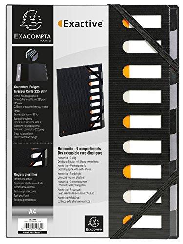 Exacompta 55334E - Clasificador tapa dura harmonika exactive lomo extensible 9 compartimentos, negro