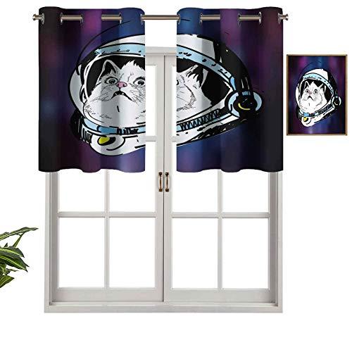 Hiiiman Cortina opaca para ventana, diseño de gatito en sombrero de astronauta que mira los rayos cósmicos OVNI, juego de 1, 127 x 45 cm para interior, sala de estar, comedor, dormitorio