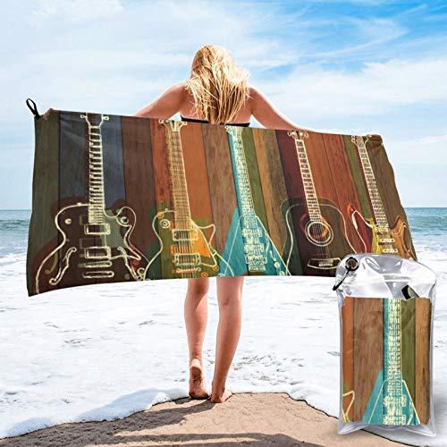 HNSENRUO Toalla de playa de secado rápido, guitarras artísticas impresas microfibra ligeras toallas de baño súper absorbentes para niños y adultos 31.5 pulgadas x 63 pulgadas